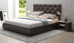 Мягкая кровать Бетти 160 Marvel pearl/stone (подъемник)