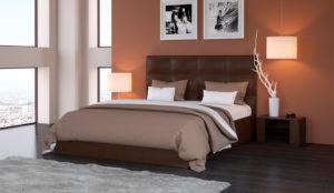 Мягкая кровать Вена Teos dark brown
