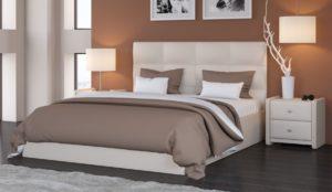 Мягкая кровать Вена Teos milk