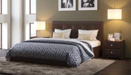 Мягкая кровать Женева Dark brown с пуговицами (подъемник)
