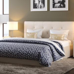 Мягкая кровать Женева Teos milk с пуговицами (подъемник)