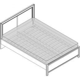 Кровать 1,5сп. изг. прямоуг. (1400мм) Спальни Камелия Орех