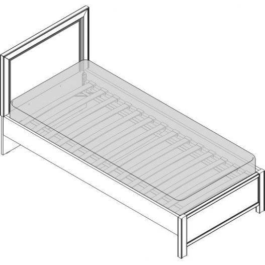 Кровать 1сп. изг. прямоуг. (900мм) Спальни Камелия Орех