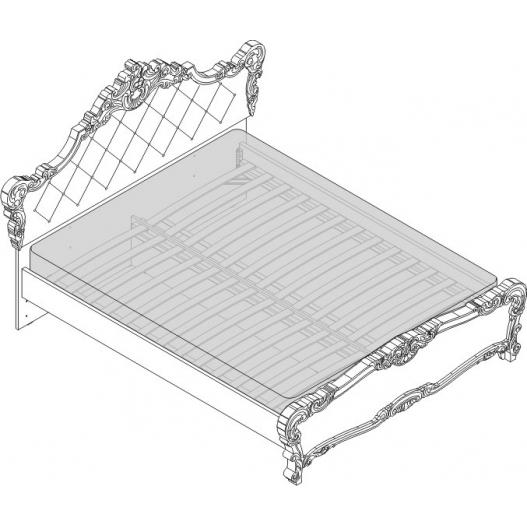 Кровать 2 сп. (1600мм) вставка бежевая Спальни Флоренция