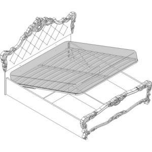 Кровать 2 сп. с п/м (1600мм) вставка бежевая Спальни Флоренция