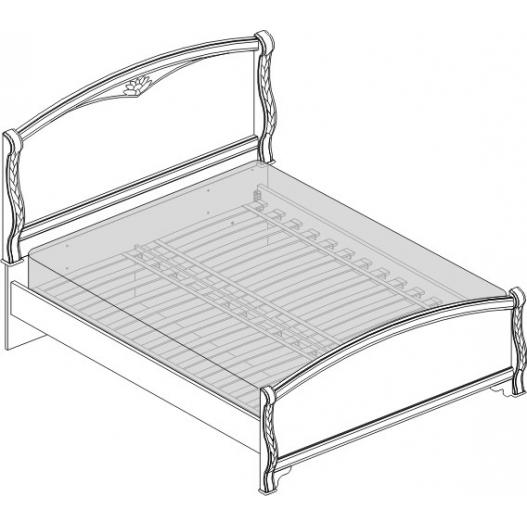 Кровать 2 спальная (1600мм) Спальни Камелия Орех