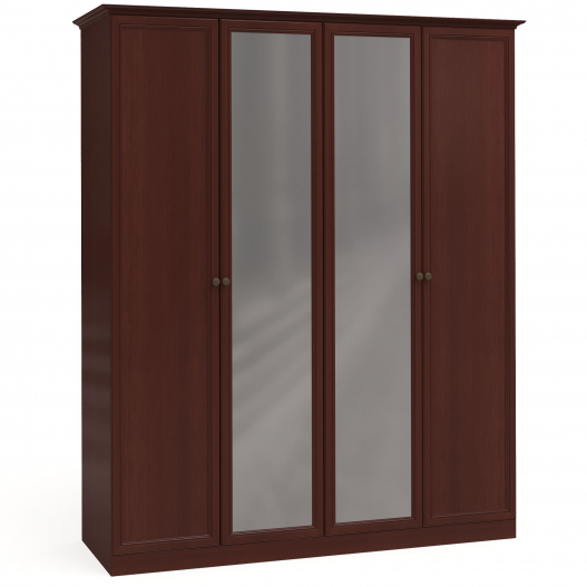 Шкаф 4дв. (2+2) с зерк. Спальни Камелия Орех