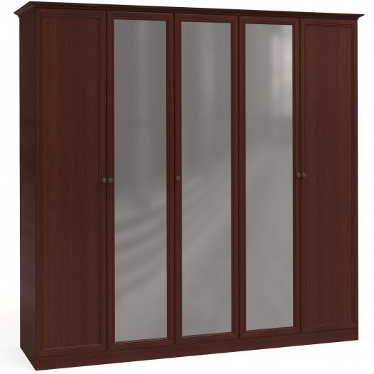 Шкаф 5дв. (2+1+2) с зерк. Спальни Камелия Орех