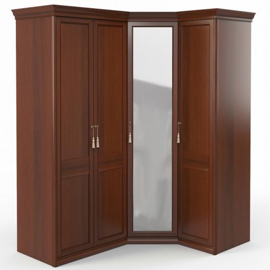 Шкаф угловой (2+угл.с зерк.+1) (дв.прав.,ограничит.) Спальни Dante