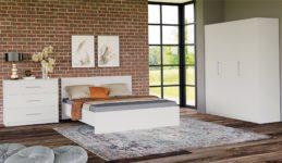 Спальня Венера // Комплект (кровать 160 с основанием под матрас, шкаф 3-х дверный) Белый